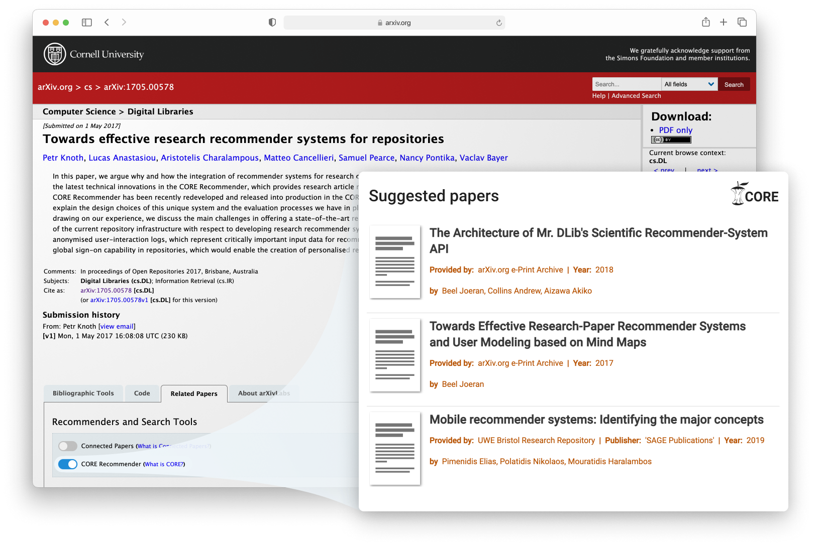 CORE Recommender on arXiv metadata page screenshot