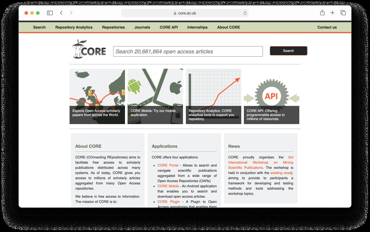 Screenshot of the core.ac.uk website on February 2015