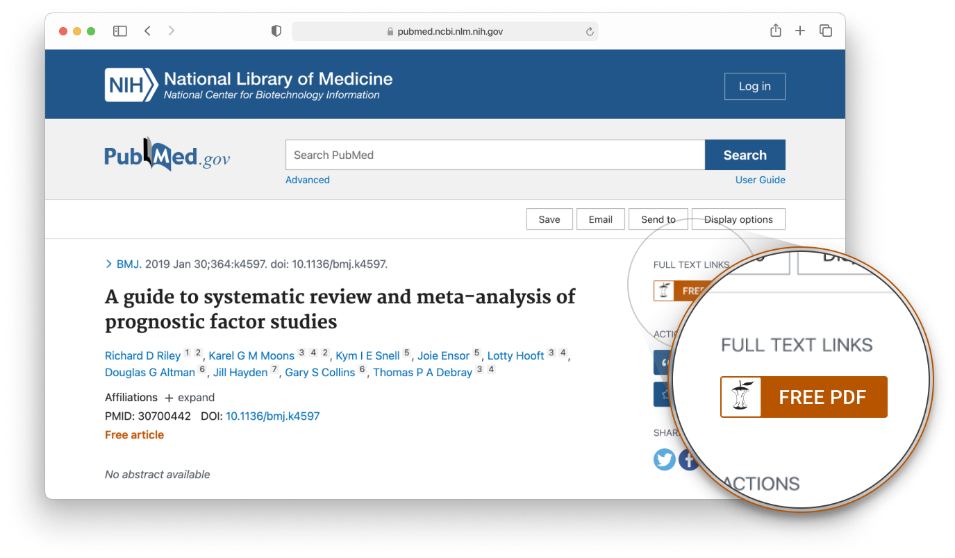 CORE Discovery button integrated into the PubMed interface